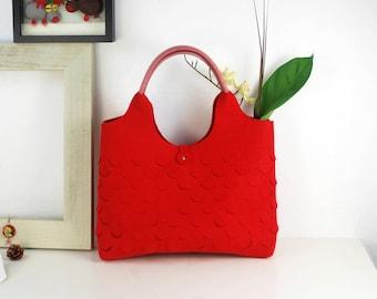 Red Tote Bag Felt Purse Shoulder Bag Ladies Bag Felt Shopping Bag Everyday Bag Hand Bag Storage Bag E981