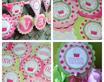 Cupcake Birthday Party Package - Personalized and Assembled - Vanessa Cupcake THeme