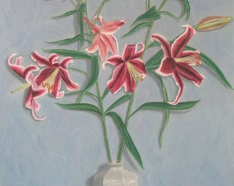 "Original oil painting ""Lilies"" 18 x 24 in"