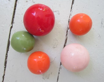 Painted Wooden Balls, Vintage Toy Parts, set of five