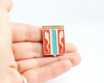 Vintage pin, New Ladoga . Badge, from USSR, Soviet Union