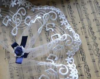 Transparent White Lace Trim 10cm-wide of Musical Notes Shape Lace H001 增加黑色图片