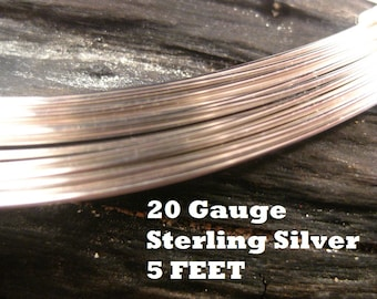 10% OFF ;). Sterling Silver 20 Gauge ga g 5 FEET Half Hard ROUND Recycled Silver