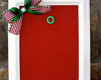 "Christmas Red Burlap Magnetic Board 8""x10"",Framed Magnetic Board,Santa Picture Display,Note Display,Holiday Card Frame, Christmas Memo Board"