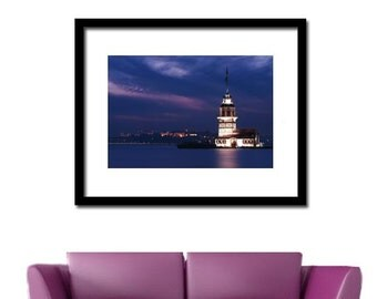 night photography, city photography,  istanbul photography,  navy blue, wall art, istanbul, Landscape photography, colour, 10''x 15 ''inch.