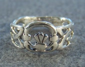 Vintage Sterling Silver  Bold  Wide Fancy  Irish Celtic Knot  Claddaugh Design  Band Ring, Size 7
