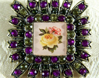 Vintage Silver Tone Glass Encased Rose Pictorial Lithograph Muti Round Rhinestone Pin Brooch