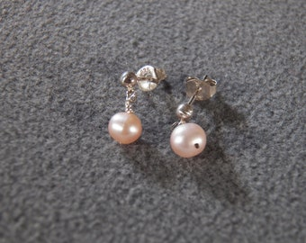 Vintage Sterling Silver Round Cultured Pearl Fancy Long Dangle Classic Pierced Earrings