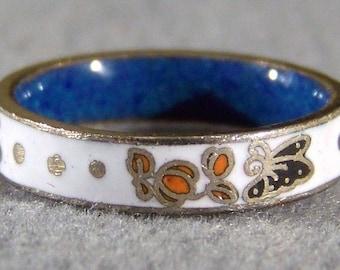 Vintage Sterling Silver Etch Enamel Eternity Wedding Band Ring