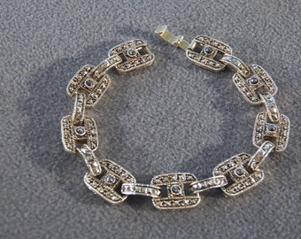 Vintage Yellow Gold Tone Multi Round Marcasite Art Deco  Style Bold Link Bracelet
