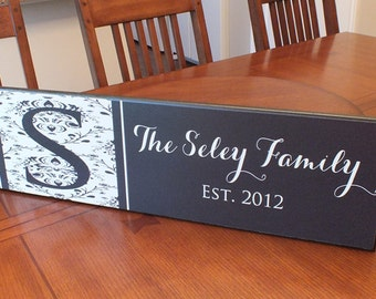 """Personalized family name sign established sign Damask With Monogram 7""""x24"""""""