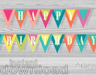 Happy Birthday banner, printable summer  party decoration, printable pennant banner, birthday party decor, DIY, instant download