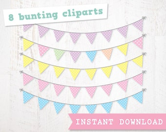 SALE * Digital Clipart Polka Dot Bunting for Scrapbooking and Crafting. Pastel Brights. Instant Download.