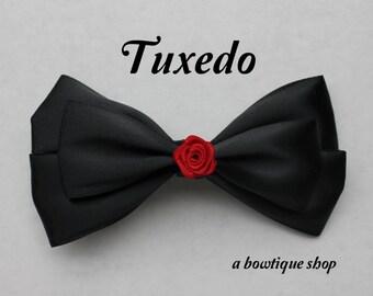 tuxedo hair bow