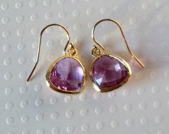 Amethyst Glass Earrings- 14k Gold Filled Ear Wires