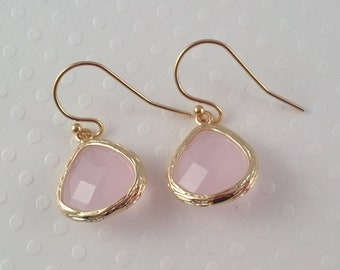 Light Pink Glass Earrings- 14k Gold Filled Ear Wires