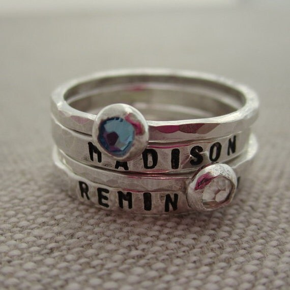 new mom stacking rings personalized name birthstone rings. Black Bedroom Furniture Sets. Home Design Ideas