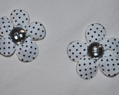 White black polka Dot flower style with Silver/Clear bow clip.