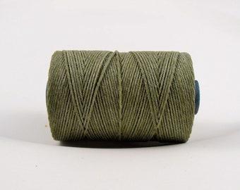 Olive Drab (5 yards) 4ply Irish waxed linen cord - olive green irish linen cord, irish linen thread olive linen cord, uk