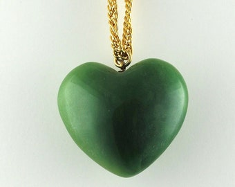 Vintage Valentine's Day Vintage Small Puffy Heart Pendant 1960s Green