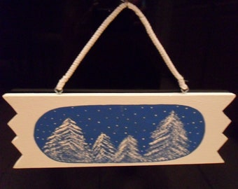 Original Winter Season Painting with Fresh Snow Falling on Pines. Wall Hanging, seasonal decoration, Blue and White