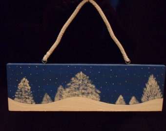 Original Winter Season Painting with Fresh Snow Falling on Pines. Wall Hanging, decoration, Blue and White