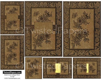 Digital Vintage Antiquarian Book Covers Collage Sheet for ATC (2.5x3.5), Die-Cut (4x6), ACEO, Journal, 13-758
