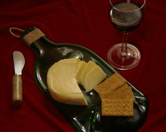 Large Festive Holiday Serving Platter - Slumped Wine Bottle Cheese Tray - Flat Bottle Serving Tray