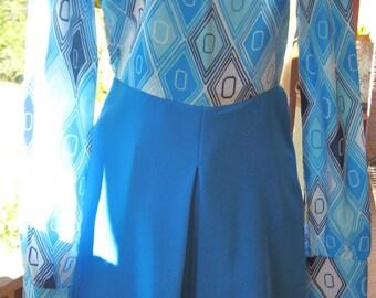 60's Blue Tones Mod Long Sleeve Dress/Free Shipping U.S.