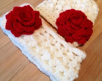 Girls Cream Puff Winter Hat & Scarf Set