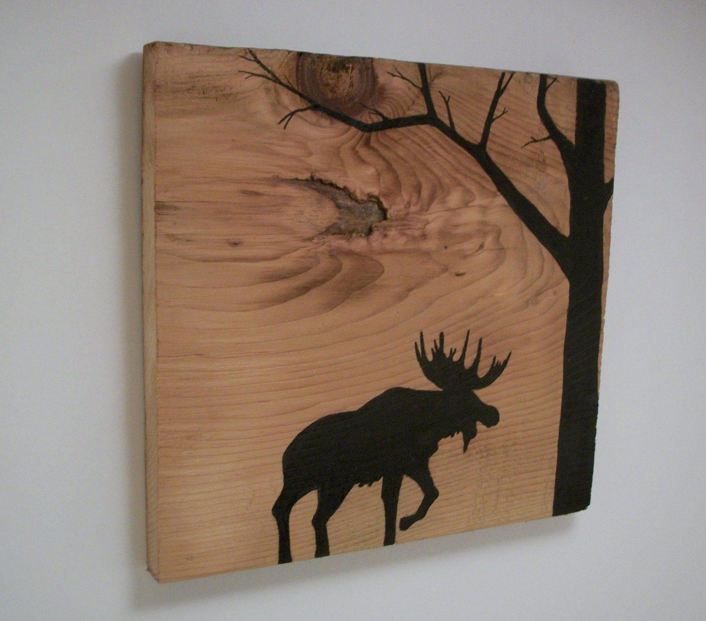 Ratings Feedback For Gavan Wood Painting Decorating: Moose Silhouette In Forest On Reclaimed 1900's Barn Wood