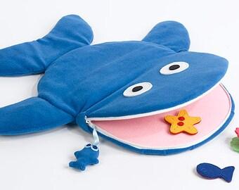 baby soft toy, fleece and felt playmat whale, maternity gift - dutch design
