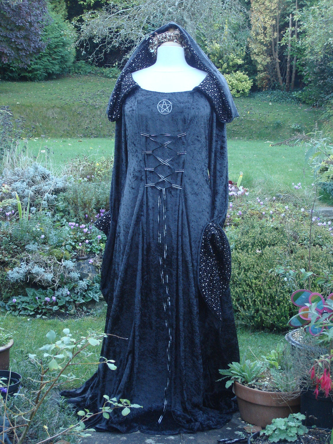 Bespoke hooded goth witch pagan black medieval wedding gown