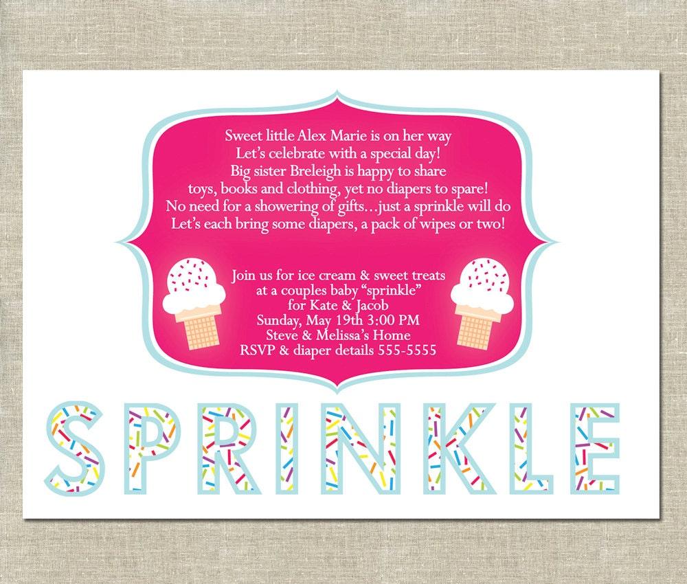 Baby Sprinkle Invitation PRINTABLE Ice Cream By