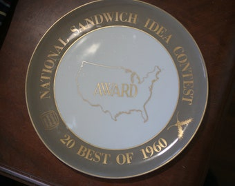 1960 National Sandwich Idea Contest Award Plate