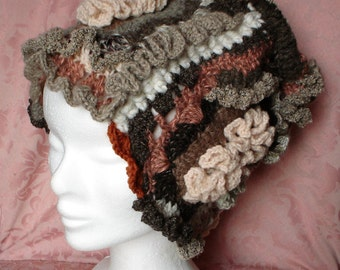freeform crochet handmade woman hat, pure wool hat
