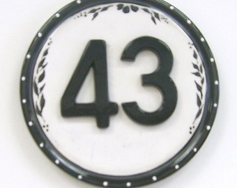 Hand Painted Ceramic House Number Plaque