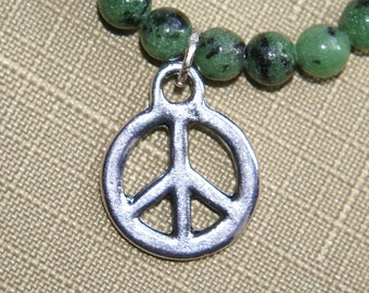 Ruby in Zoisite bracelet with Tibetan Silver Peace Charm.