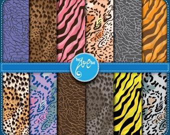Digital Paper Animal Print Clip Art Printable animal skin ,Leopard, Cheetah, Zebra,Tiger,Elephant Print, Scrapbook, Cards, Invitations Dp010