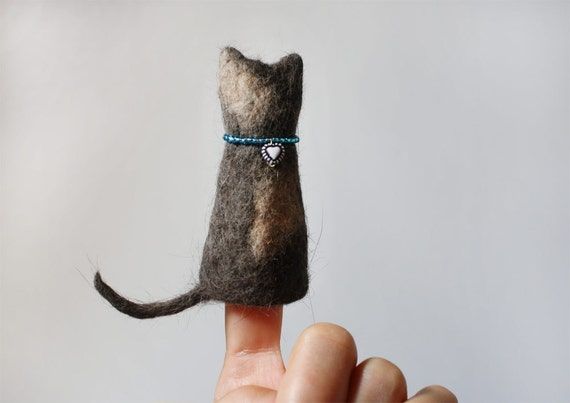 felted kitty finger puppet - felted out of real cat hair