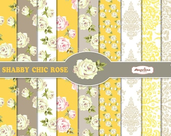 9 Shabby Chic Rose Yellow and Gray Digital Scrapbook Papers 8x12 inch for invites, letters, card making, digital scrapbooking