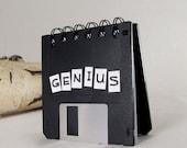 Genius Black Floppy Disk Notebook Recycled Geek Gear Blank Mini