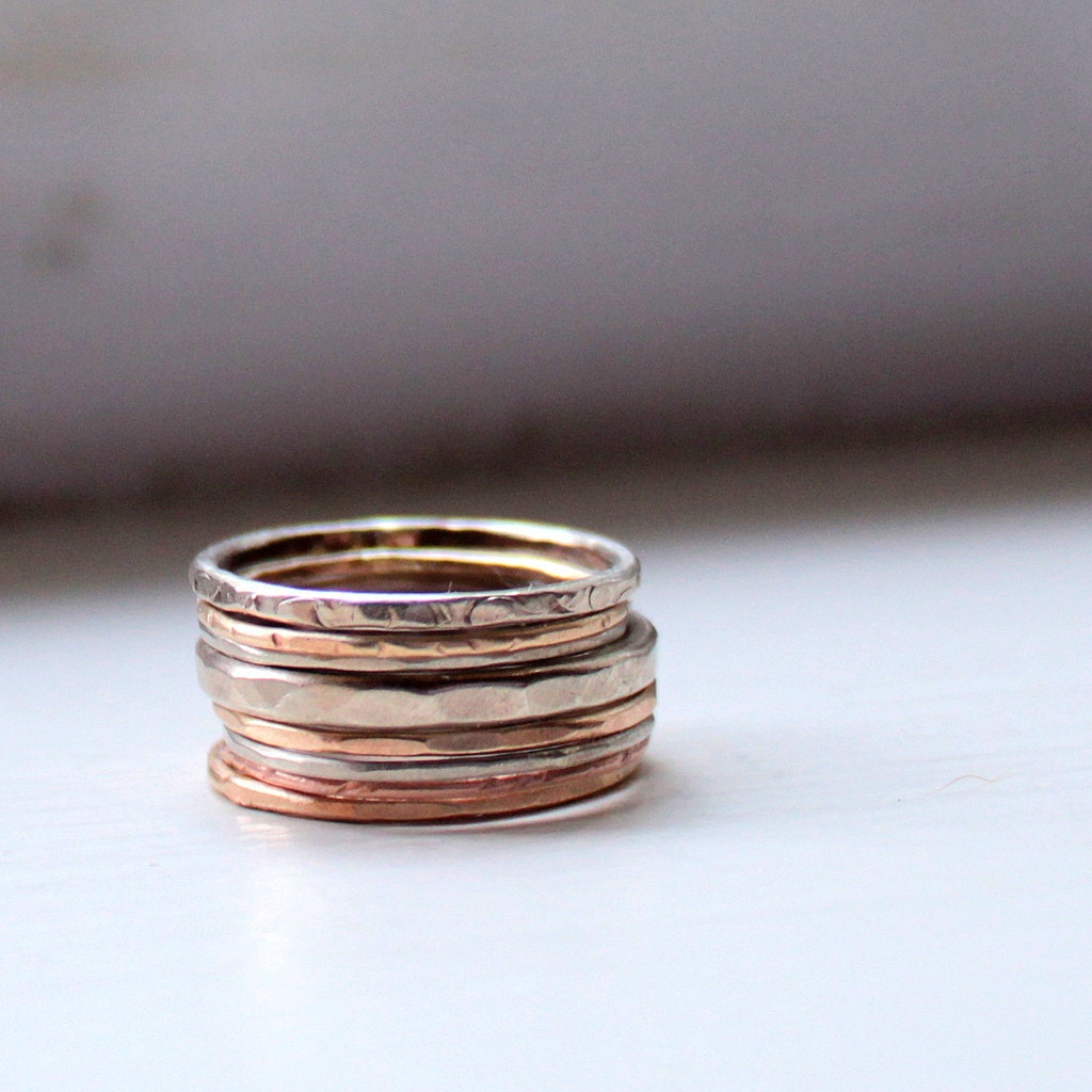 autumn gold stacking rings wedding ring set by tinahdeetoo