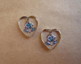Vintage Rose Heart Cameo Pendants