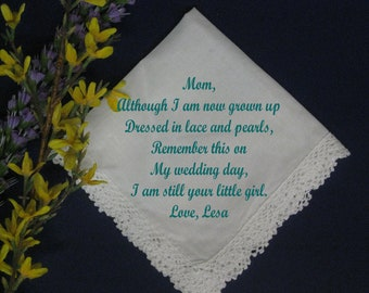 Personalized Wedding Handkerchief Gift from Bride to her Mother M678