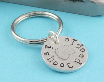 SALE - I Shoot People Handstamped Keychain - Silver Key Ring - Camera Bag Tag - Photographer Gift