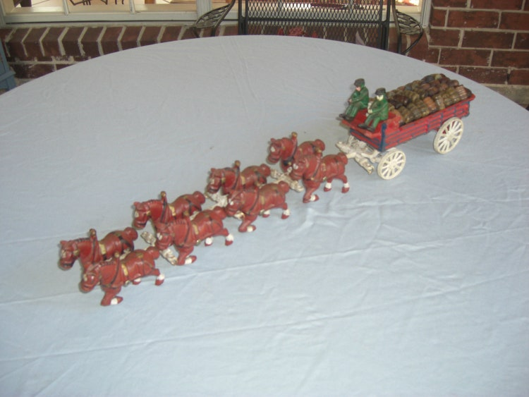Antique Cast Iron Budweiser Clydesdale Wagon And By