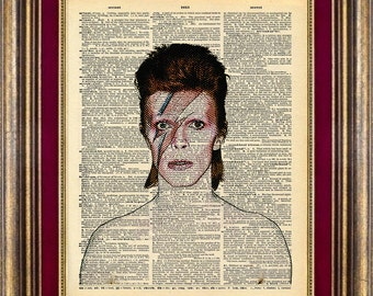 Ziggy Stardust Bowie Print Vintage Dictionary Page Up Cycled
