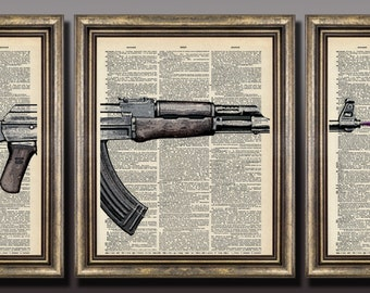 AK 47 Flower Arm Print LARGE 8x10s Dictionary Page Original Unique giftt book page art print up cycled