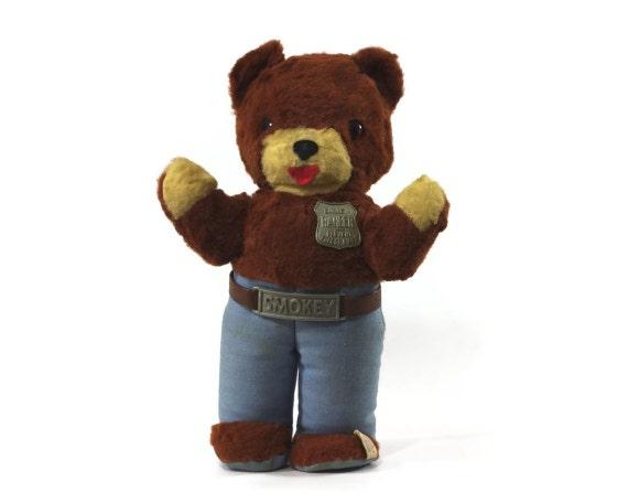 Vintage Smokey Bear Stuffed Toy Ideal 1960s